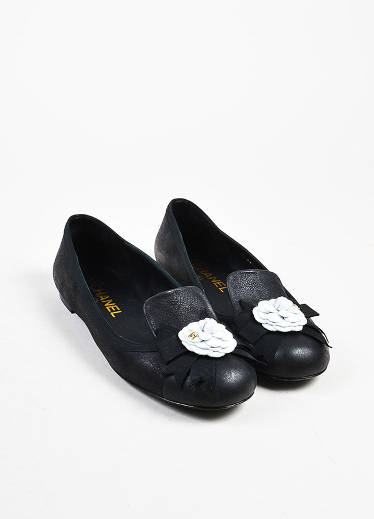 Black Chanel Leather White 'CC' Camellia Flower Loafers Front