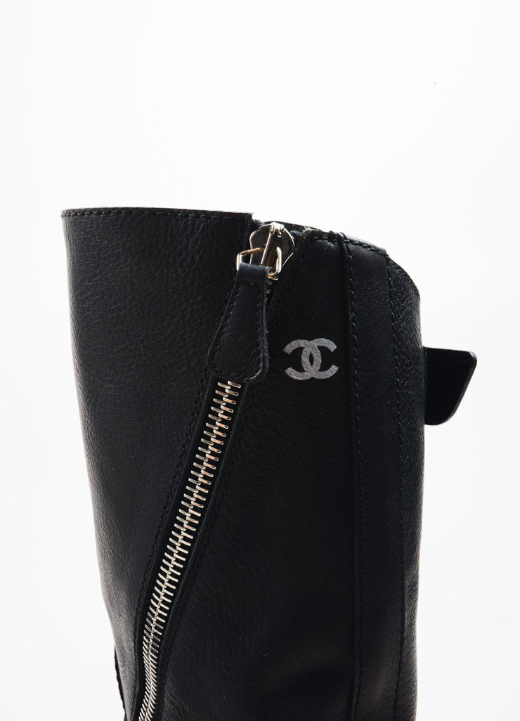 Chanel Black Leather Asymmetrical Zip Stacked Heel Moto Boots Detail