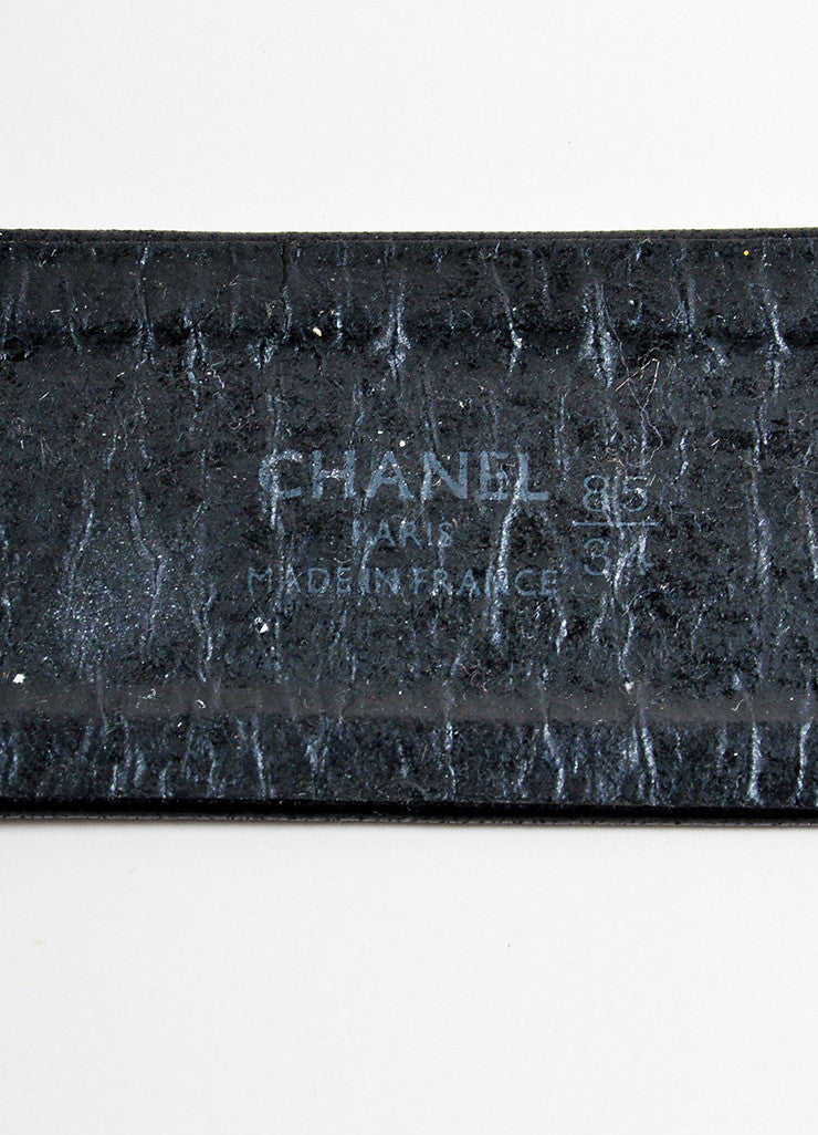 "Chanel Black Leather and Gold Toned Medallion Chain ""CC"" Belt Brand"
