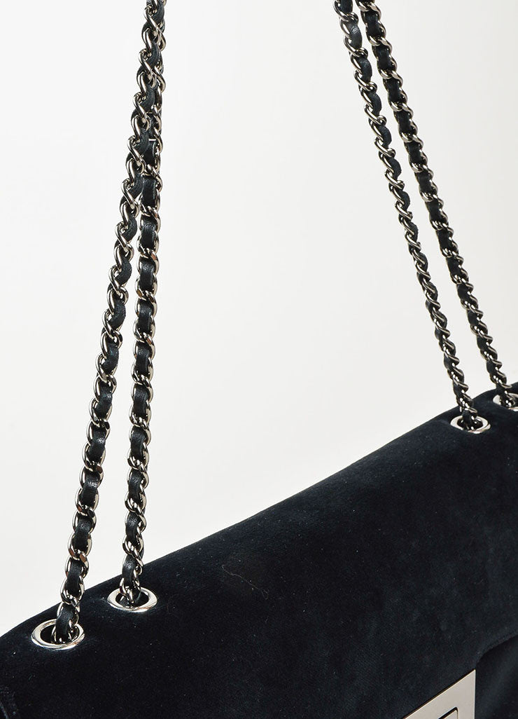 "Chanel Black Velvet Silver Toned Clasp Chain Strap ""Mademoiselle Flap"" Bag Detail 2"
