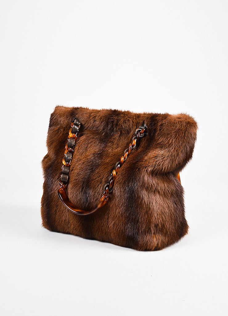 Chanel Brown Beaver Fur Tortoise Shell Chain Handle Tote Bag Sideview