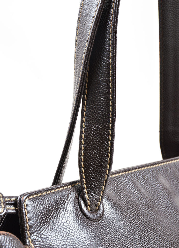 "Chanel Brown Caviar Leather Stitched ""CC"" Tote Bag Detail 2"