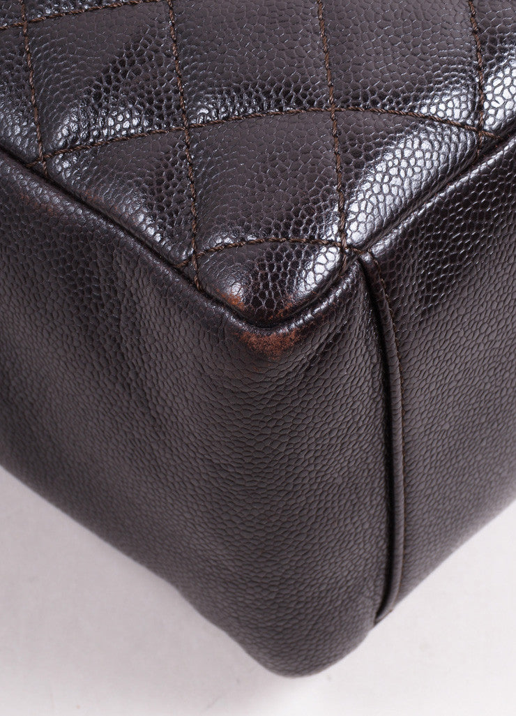 "Chanel Dark Brown Quilted Caviar Leather ""CC"" Chain Strap Grand Shopper Tote Bag Detail"