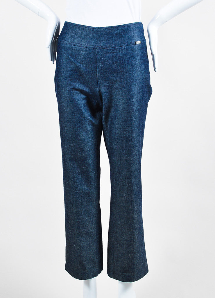 Chanel Blue Denim Wide Leg Trousers Frontview