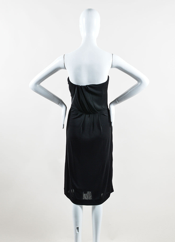 Chanel Black Jersey Pleated Corset Strapless Dress Backview