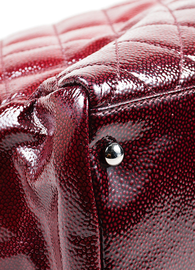 Red Ombre Chanel Glazed Caviar Leather Quilted Tote Bag Detail 1