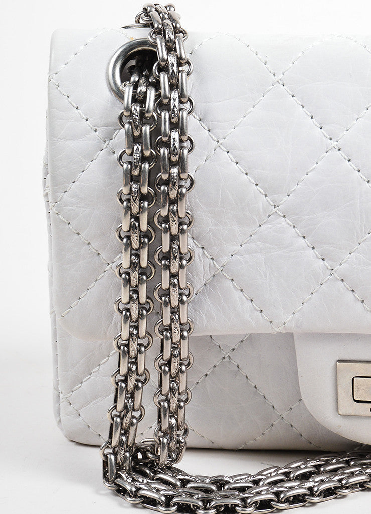 "White Aged Calf Skin Chanel ""New Mini"" 2.55 2005 Limited Ed Reissue Flap Bag Detail 2"