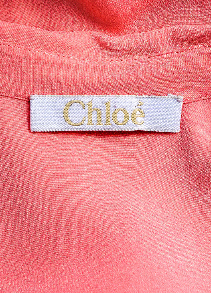 Chloe Pink Silk Chiffon Sheer Panel Button Up Long Sleeve Blouse Brand