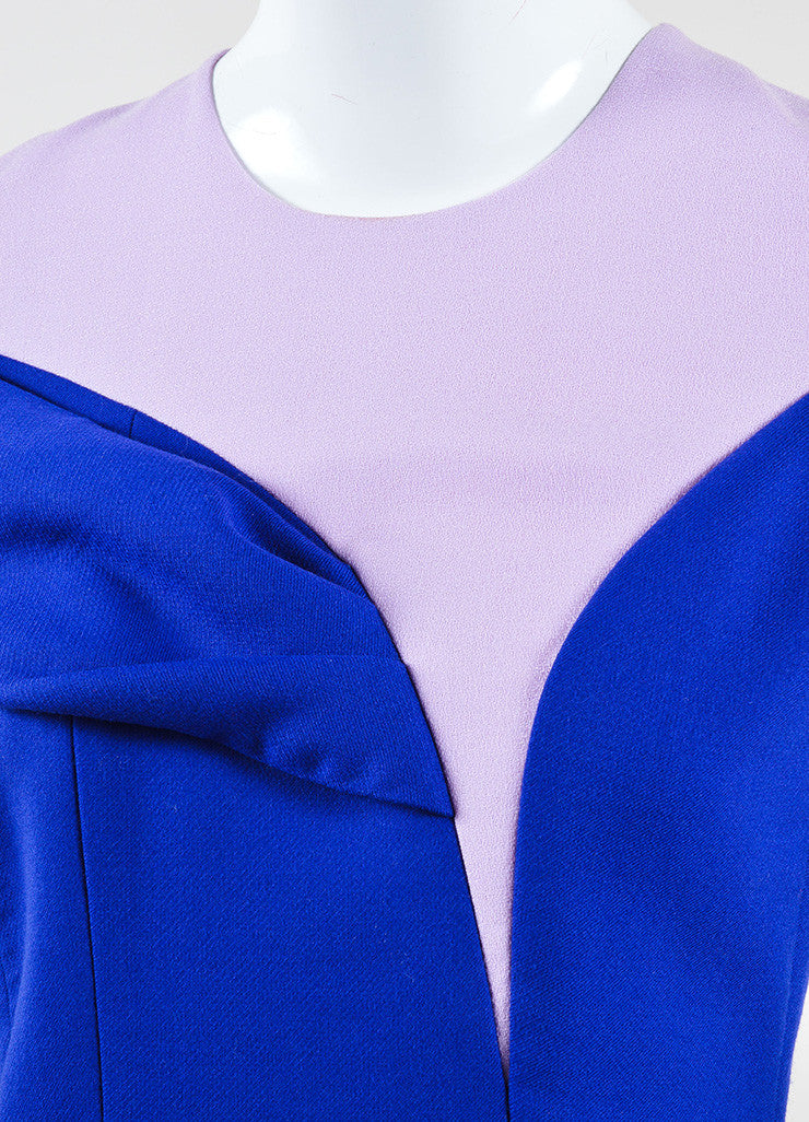 Christian Dior Blue and Pink Off Shoulder Crepe Wool Sheath Dress Detail