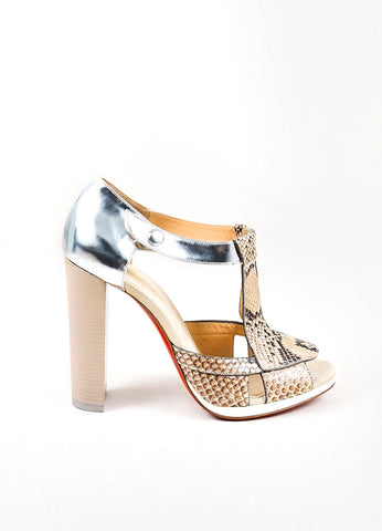Christian Louboutin Beige, Brown, and Silver Snakeskin Leather Open Heels Sideview