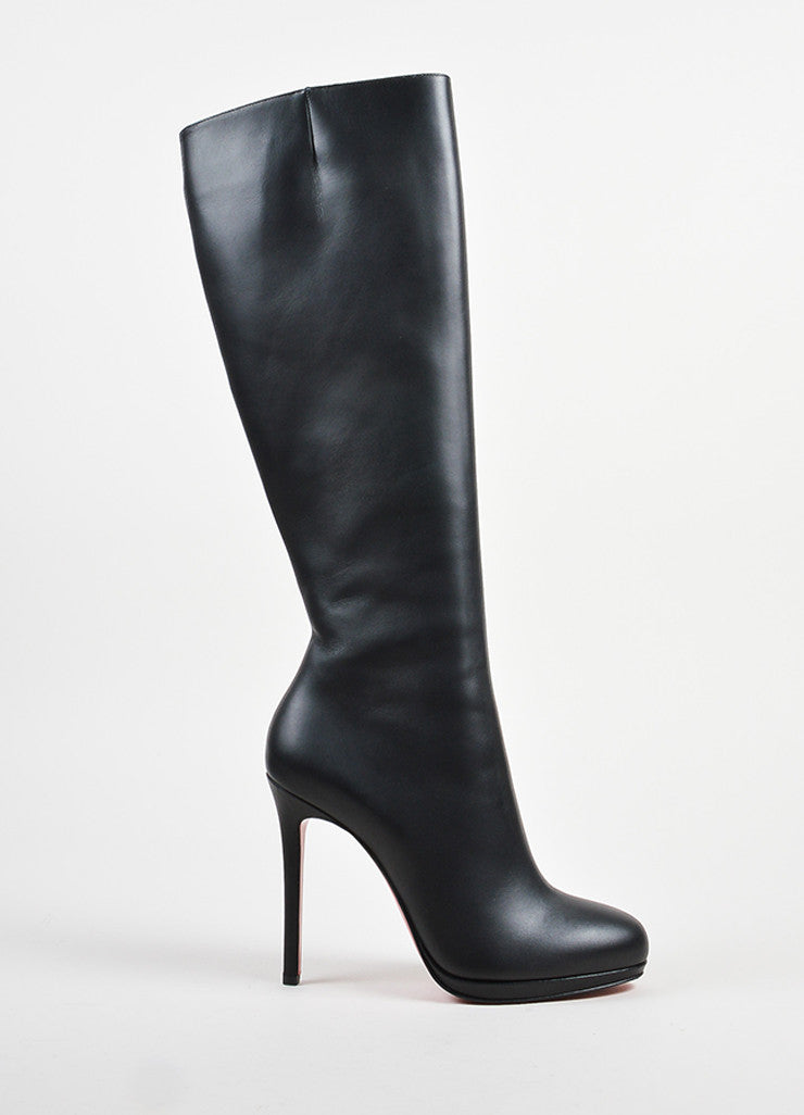 "Black Leather Christian Louboutin ""New Simple Botta"" Tall Heel Boots Sideview"