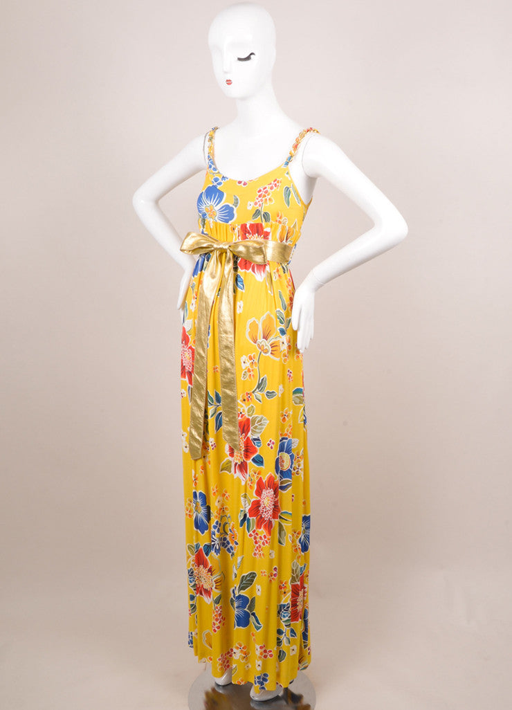 Dolce & Gabbana Yellow, Blue, and Red Floral Print Belted Maxi Dress Sideview