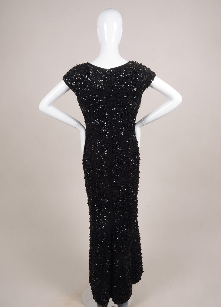 Elie Saab Black Silk Blend Lace Applique Sequin Embellished Full Length Gown Backview