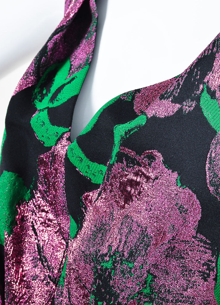 "Erdem Black, Green, and Purple Jacquard Sleeveless V-Neck ""Kuni"" Dress Detail"