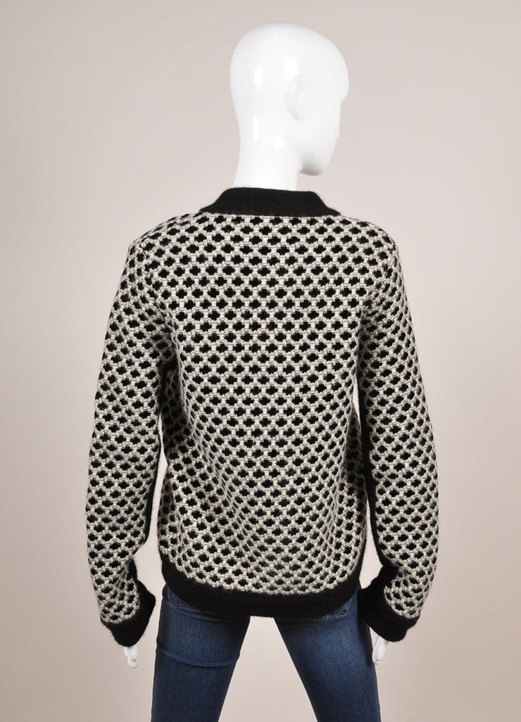 Eto New With Tags Black and White Wool Blend Woven Pattern Sweater Cardigan Backview