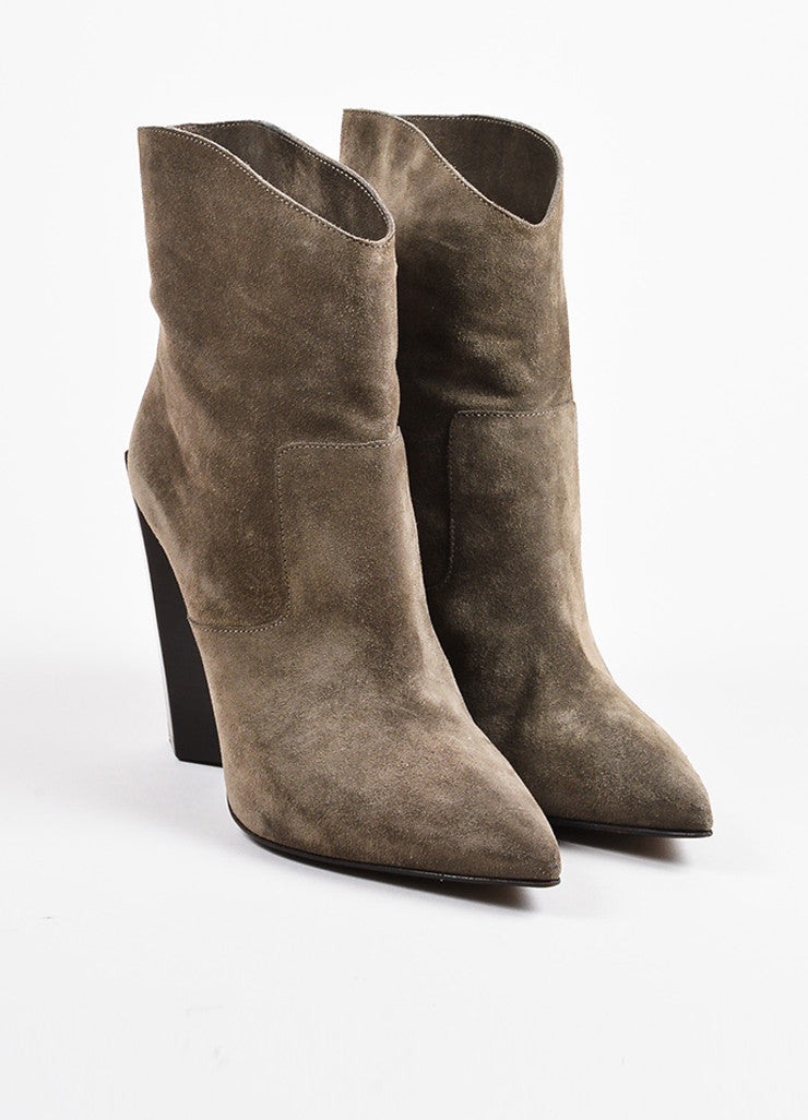 Fendi Grey and Brown Suede High Heel Pointed Western Ankle Boots Frontview