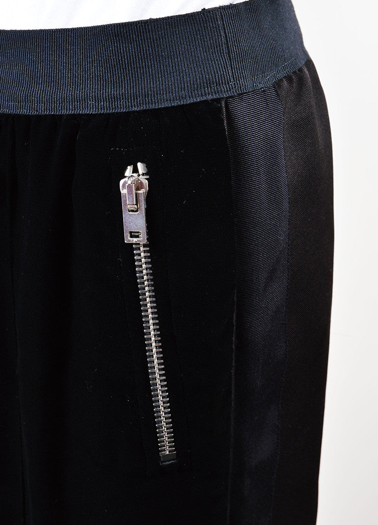 Giambattista Valli Black Ribbed Velvet Contrast Jogger Pants Detail