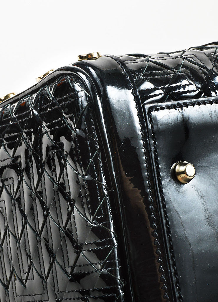 "Gianni Versace Black Patent Leather Quilted ""Snap Out of It"" Satchel  Bag Detail"