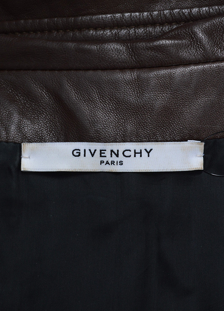 Brown Givenchy Leather Ruffle Short Sleeve Jacket  Brand