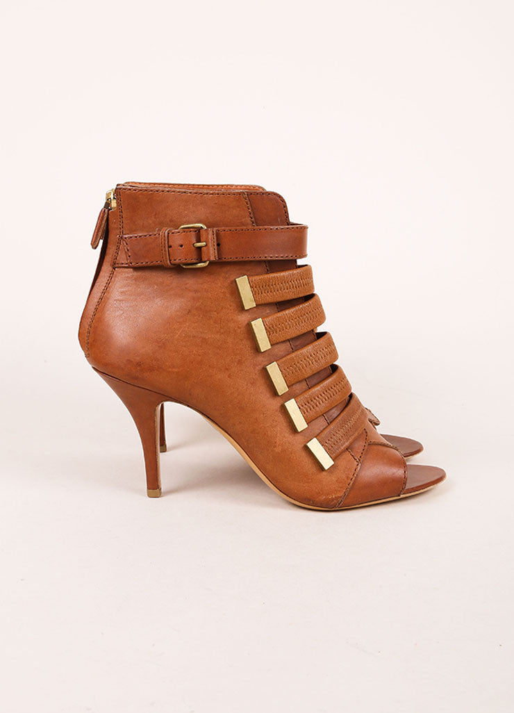 Givenchy Brown Leather Strappy Open Toe Booties Sideview