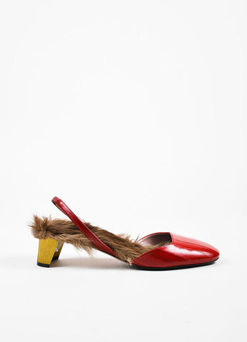 "Red Gucci Eel & Kangaroo Fur Slingback ""Arielle"" Pumps Side"
