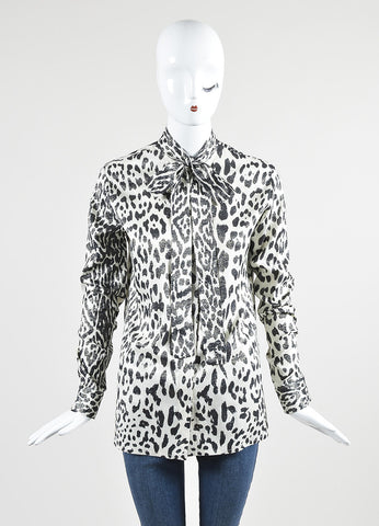 Haider Ackermann Black and White Silk Leopard Print Tie Shirt Front