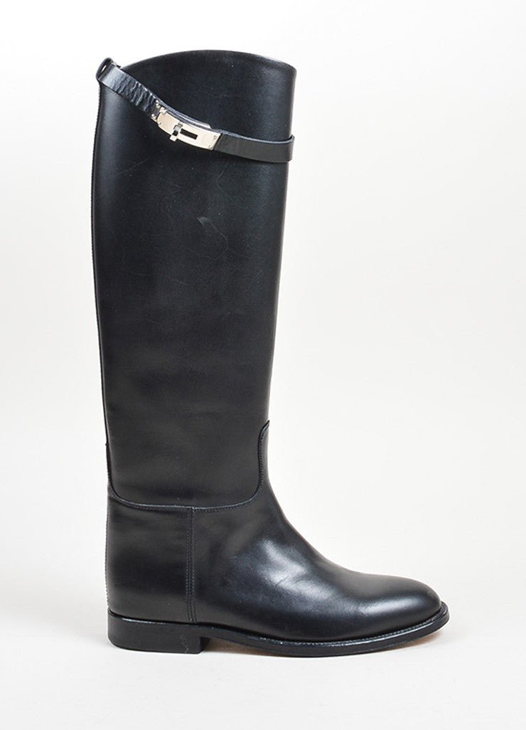 "Black Leather Hermes ""Jumping"" Tall Riding Boots Sideview"