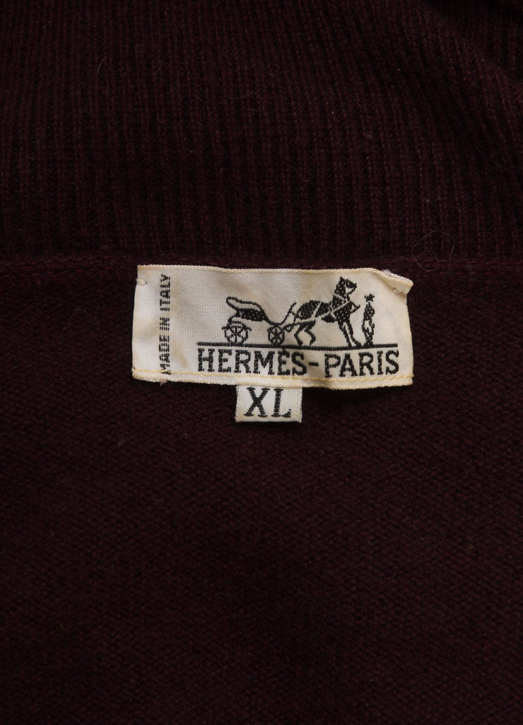 Hermes Maroon Cashmere Knit Turtleneck Tunic Sweater Dress Brand