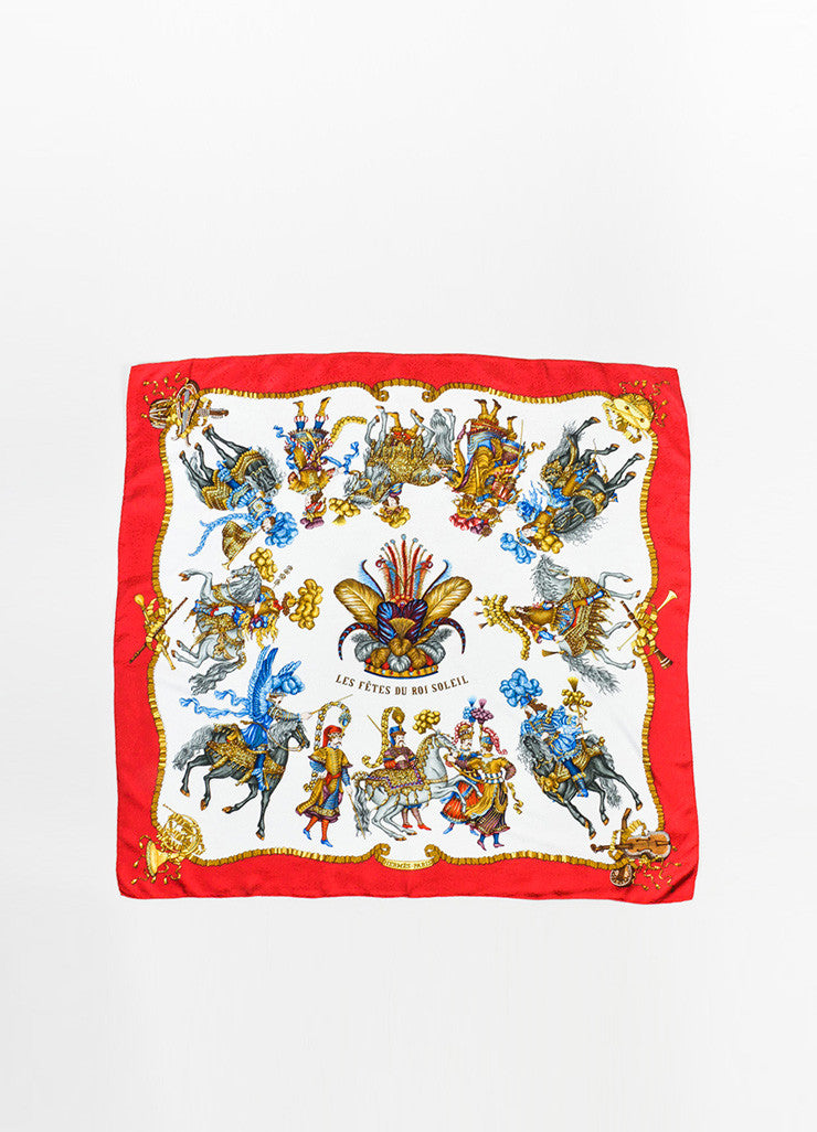 "Hermes Red, Gold, and Blue Silk ""Les Fetes Du Roi Soleil"" 90cm Scarf Frontview 2"