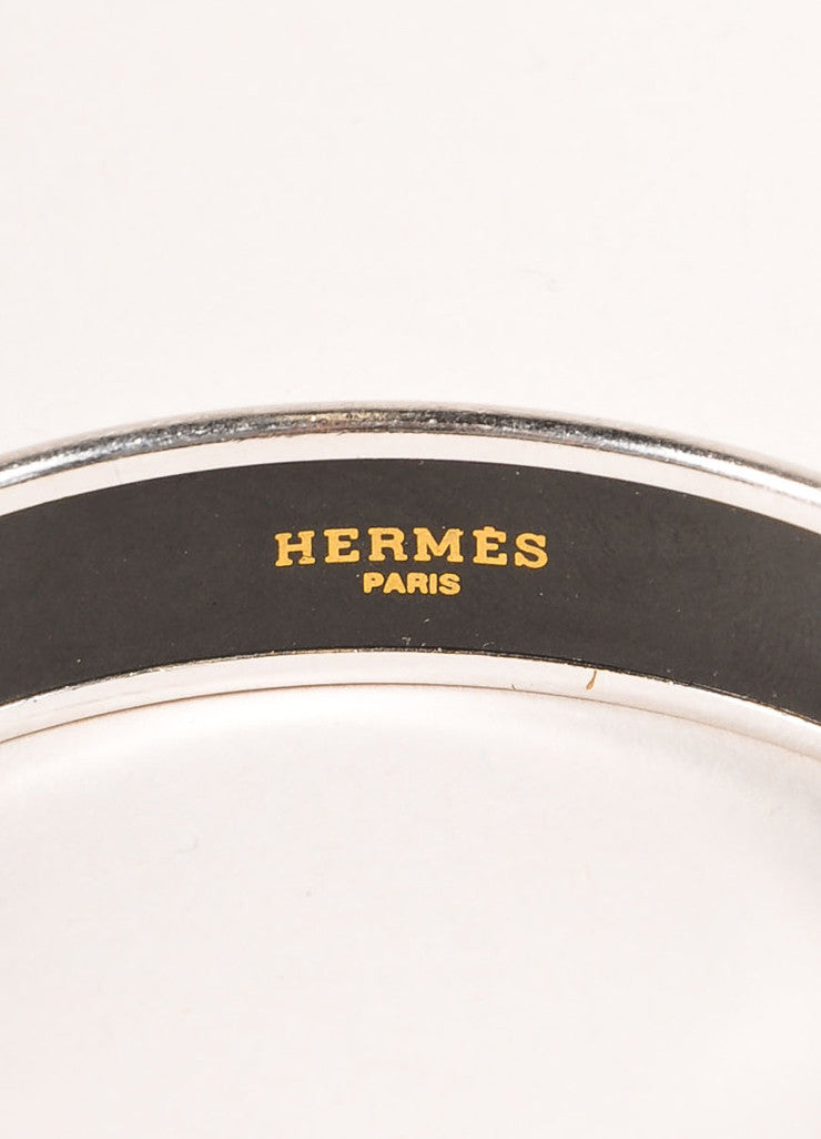 Hermes Silver Toned and Black Enamel Carriage Logo Print Thick Bangle Bracelet Brand