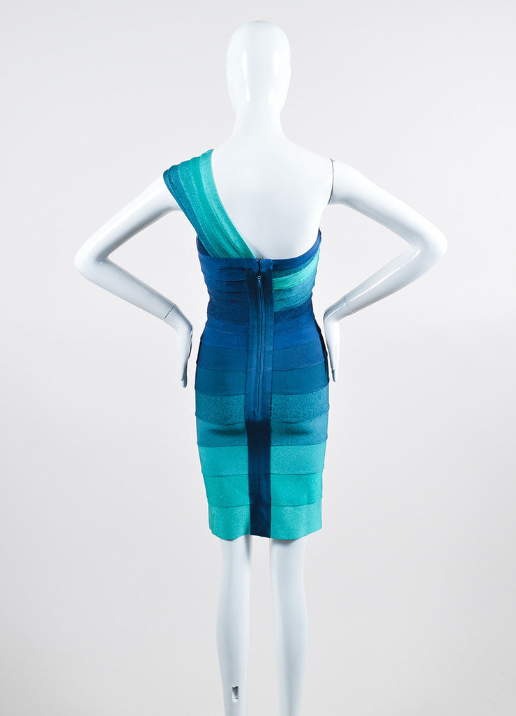 "Blue and Green Herve Leger One Shoulder Striped Bandage Bodycon ""Eliana"" Dress Backview"