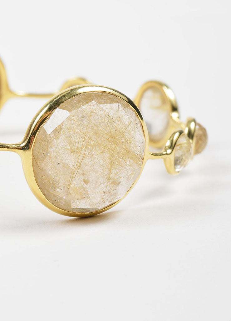 "18K Yellow Gold and Rutilated Quartz Ippolita ""Rock Candy"" Bangle Bracelet Detail"