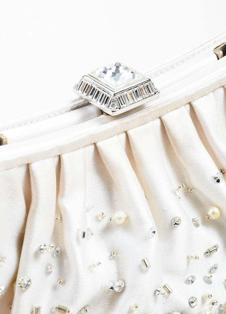 Judith Leiber White Satin Beaded Faux Pearl Embellished Evening Clutch Bag Detail 2