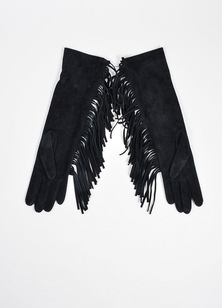 Black Lanvin Suede Fringe Short Gloves Frontview