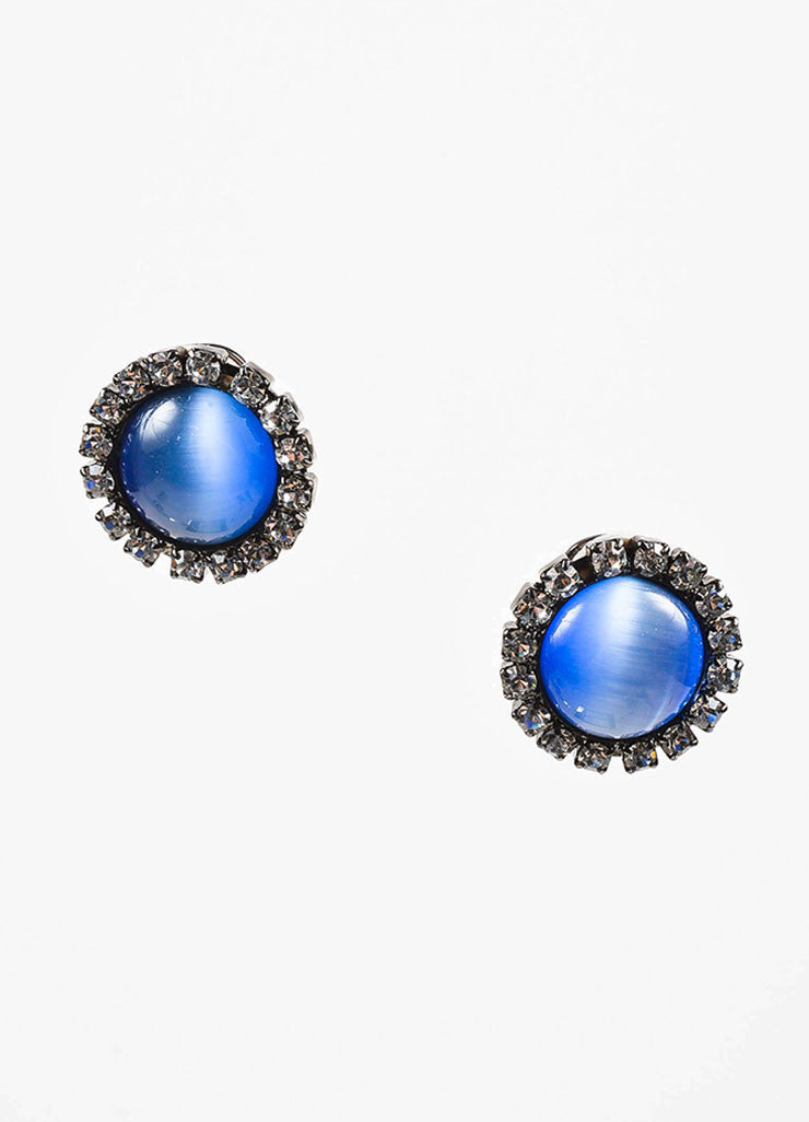 Lawrence Vrba Blue Cabochon Rhinestone Circular Clip On Earrings Frontview