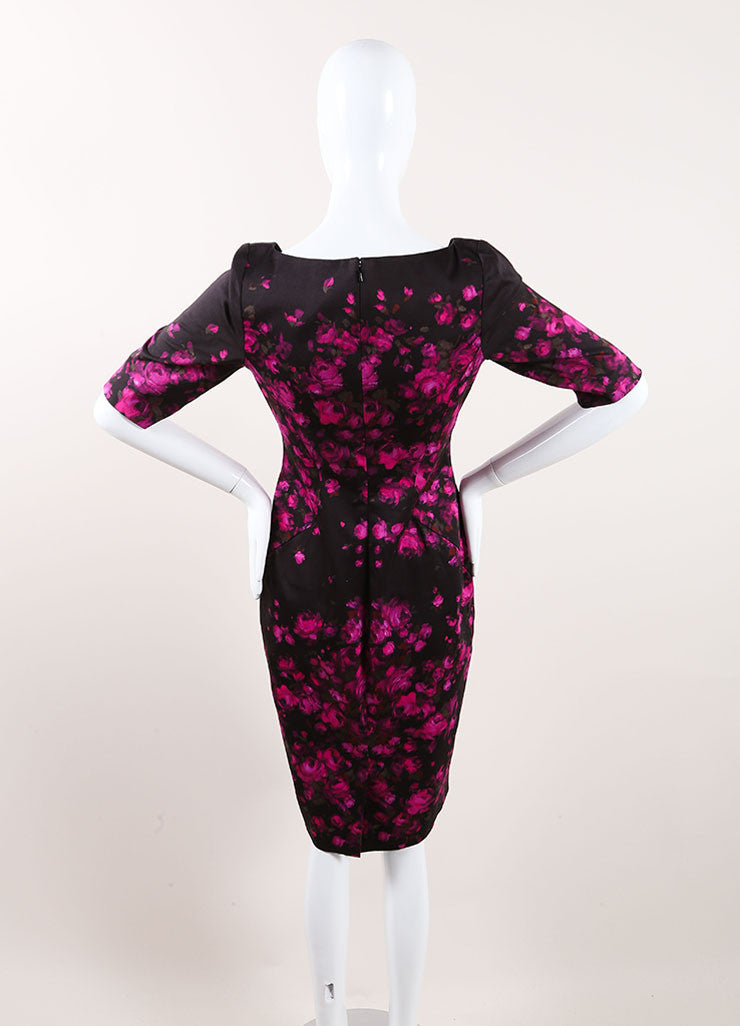 Lela Rose New With Tags Black and Pink Floral Print Crop Sleeve Sheath Dress Backview