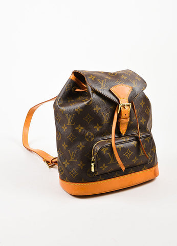 "Louis Vuitton Brown Canvas Monogram Drawstring ""Montsouris MM"" Backpack Sideview"