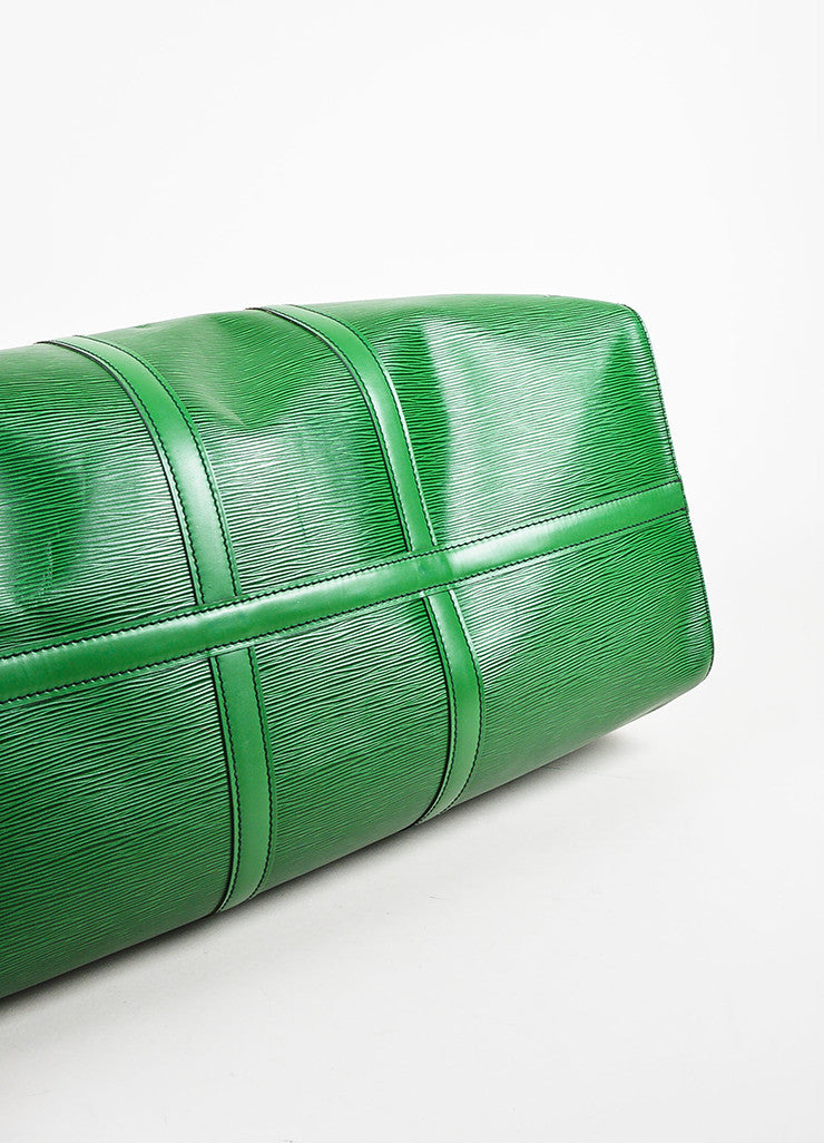 "Louis Vuitton Borneo Green Epi Leather ""Keepall 55"" Travel Duffel Bag Bottom View"