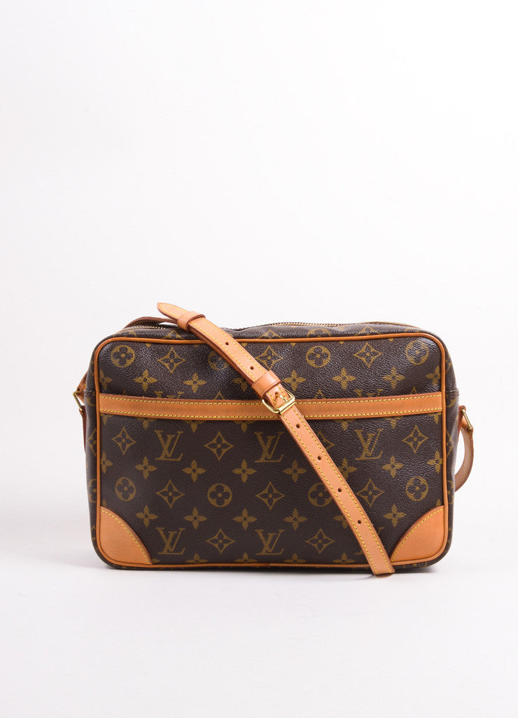 "Louis Vuitton Brown Coated Canvas Leather Monogram ""Trocadero 27"" Cross Body Bag Frontview"