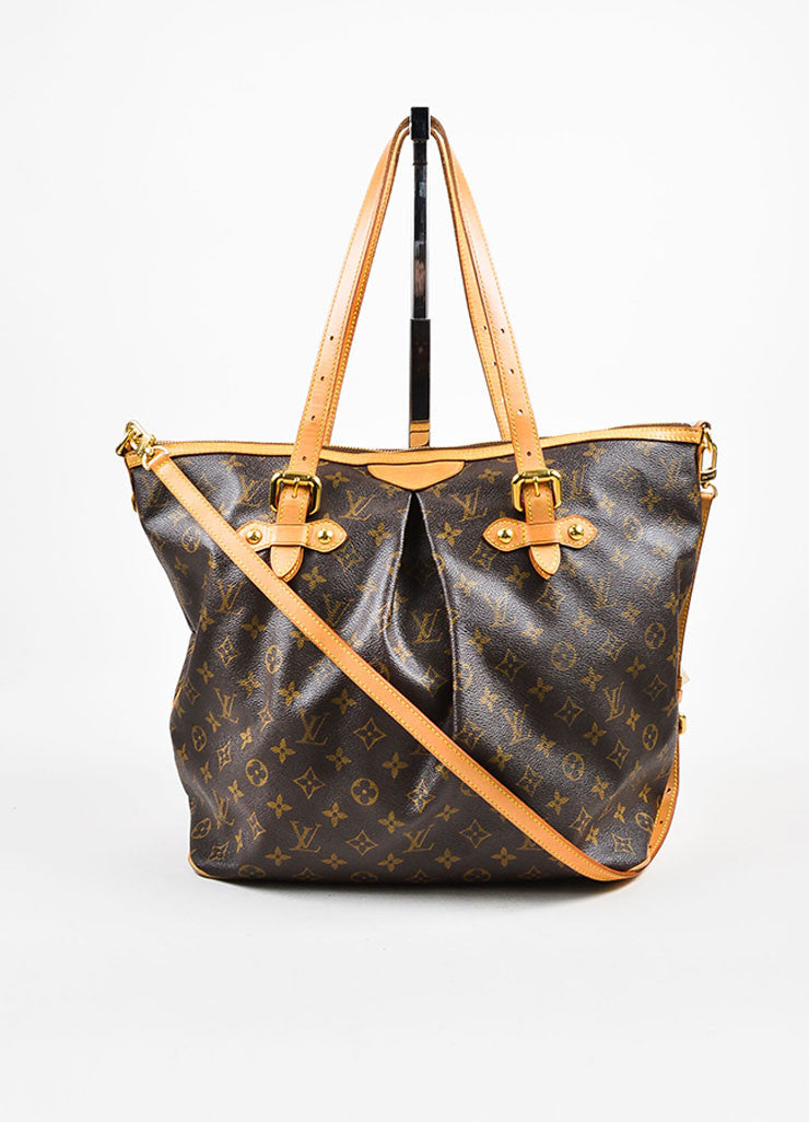 "Louis Vuitton Brown Coated Canvas Monogram ""Palermo GM"" Tote Bag Frontview"
