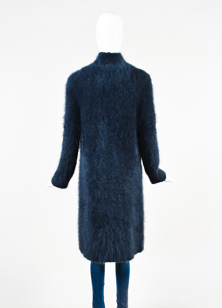 Louis Vuitton Navy Blue Angora Fuzzy Open Front Long Turtleneck Sweater Backview