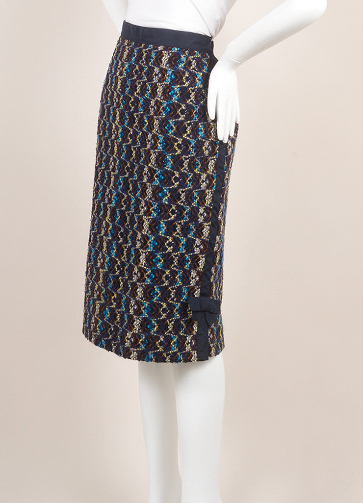 Louis Vuitton Navy Multicolor Wool Tweed & Side Bow Slit Pencil Skirt SZ 38 Sideview