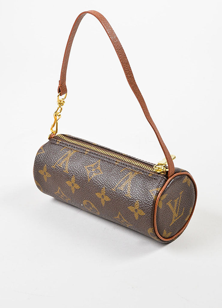 "Louis Vuitton Tan and Brown Coated Canvas Monogram ""Mini Papillon Pochette"" Bag Sideview"
