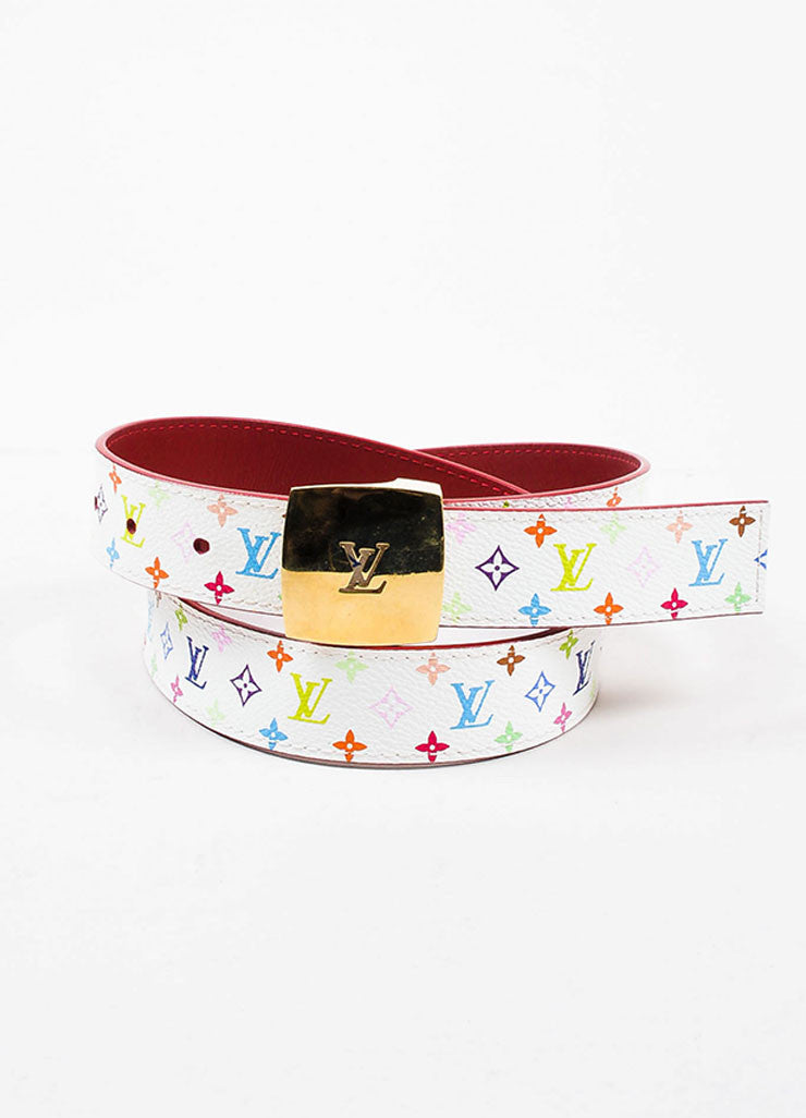 Louis Vuitton White Monogram Multicolore 30mm Reversible Belt Frontview