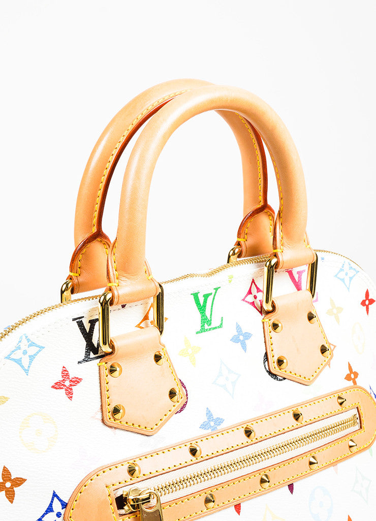 "Louis Vuitton White ""Multicolore Monogram Alma"" Canvas & Leather Trim Bag Detail 3"