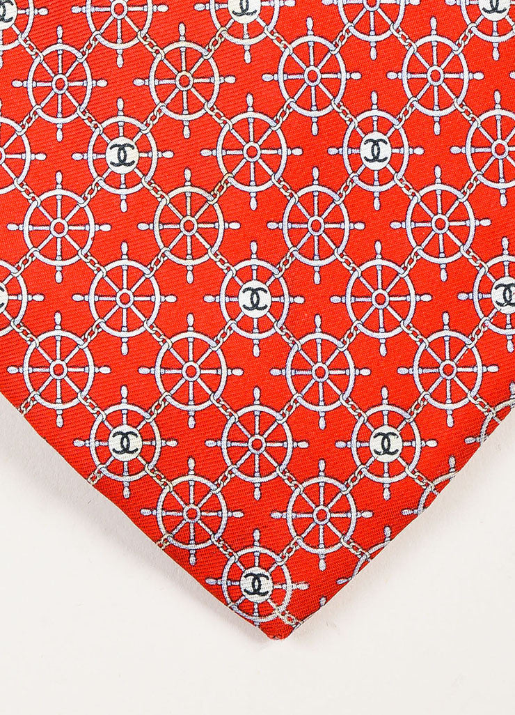 Men's Chanel Red Blue Multicolor Silk Twill Boat Wheel Print Neck Tie Detail
