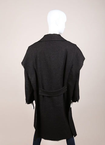 Maison Martin Margiela Dark Grey Wool Tweed Double Breasted Long Coat Backview