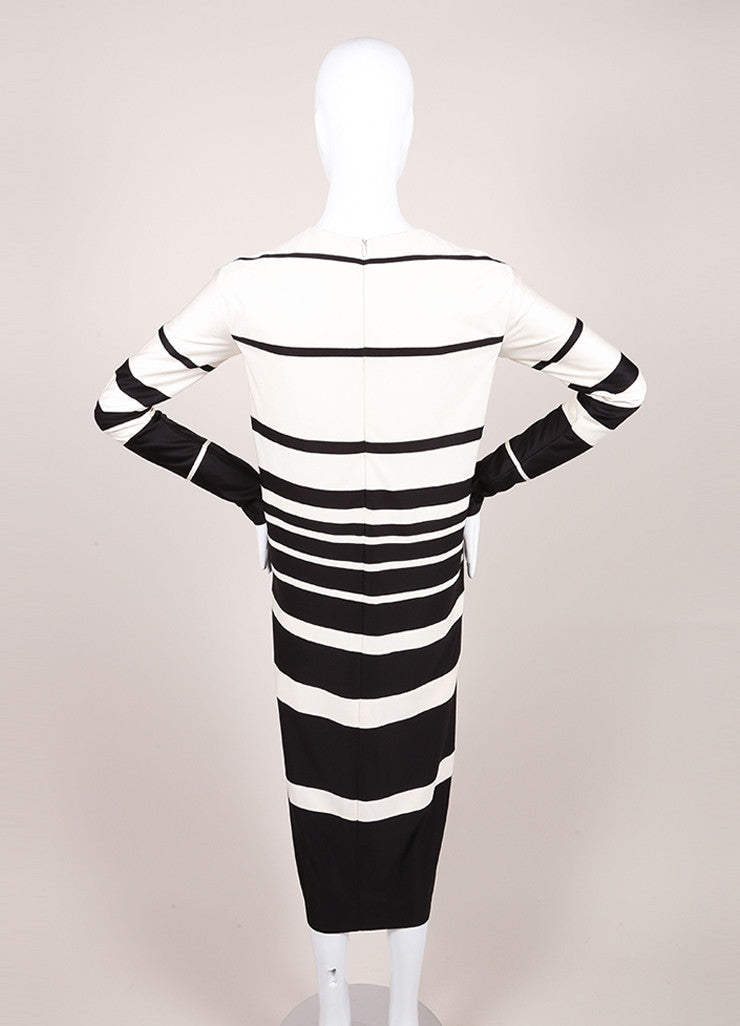 Marc Jacobs Cream and Black Silk Knit Stripe Long Sleeve Midi Dress Backview