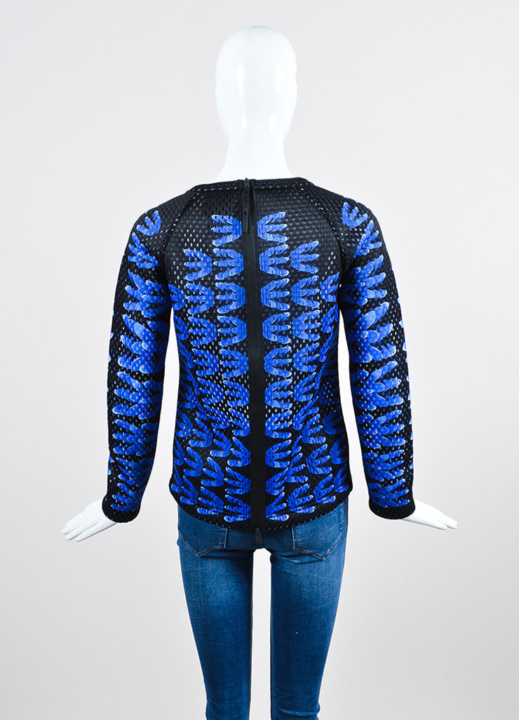 "Black and Blue Perforated Mary Katrantzou x Adidas ""Monster Marathon"" Long Sleeve Top Backview"