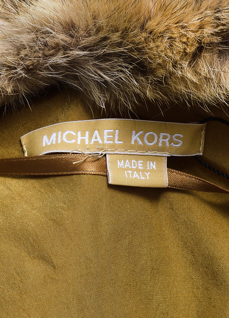 "Michael Kors ""Barley"" Tan Silk Coyote Fur Collar Trim Down Parka Coat Brand"